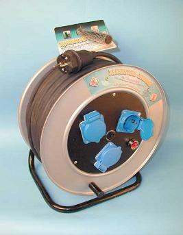 Удлинитель на металлической катушке 3 розетки влагозащищенный РВМ Электро
