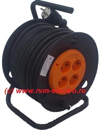 Удлинитель на пластиковой катушке и стойке РВМ Электромаркет с кабелем КГ 4 розетки
