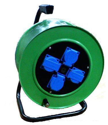 Удлинитель на металлической катушке РВМ Электромаркет 4 розетки IP20 с автоматом защиты