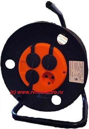 Удлинитель на пластиковой катушке 4 розетки с защитными крышками РВМ Электромаркет